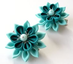 Kanzashi  Fabric Flowers. Set of 2 hair clips. Shades of от JuLVa, $13.50