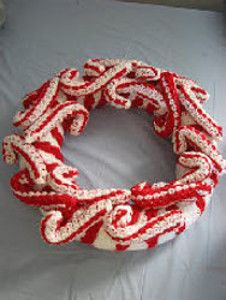 Crocheted Candy Cane Wreath | AllFreeCrochet.com