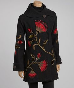 Take a look at this Black & Red Garden Wool Coat - Women on zulily today!