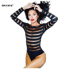 CMYAYA 2016 New Women Sexy Spring Black Full Sleeve O-Neck Mesh Patchwork Short Length Skinny Bodysuit at our web shop http://www.aliexpress.com/store/536244