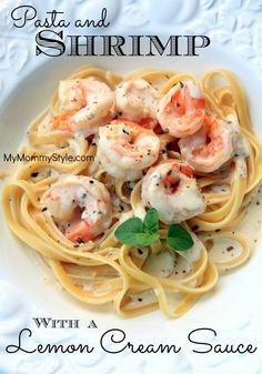 Creamy lemon sauce served over shrimp and angel hair pasta.