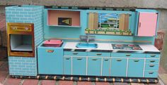 Vintage Superior Aqua Blue Tin Toy Kitchen | eBay