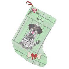 Cute Boy Shih Tzu Green Wooden Fence Monogram Small Christmas Stocking - monogram gifts unique custom diy personalize