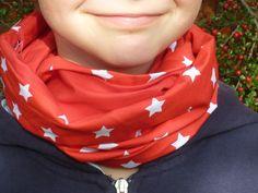 Zum Wenden - Loop/Schlauchschal> Sterne rot, weiß - ein Designerstück von Thorvids-Sommerhaus bei DaWanda