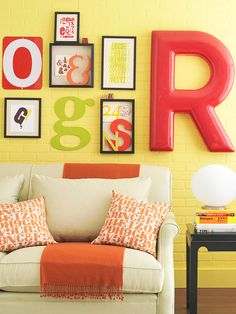 Hop on the typography trend and use letters to create an artsy arrangement. Use a variety of sizes, colors, and materials. Try combining prints with three-dimensional letters arranged in shadow boxes. For an extra dose of style, include one striking large letter to balance several smaller pieces./