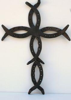 Horseshoe Fish Cross...Horseshoe by GarysCustomMetalwork on Etsy, $50.00