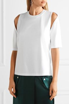 Dion Lee - Utility Contour Cutout Cotton T-shirt - White - UK12