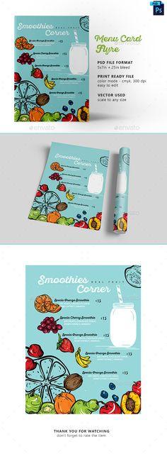 Fruit Smoothie Menu Flyer — Photoshop PSD #fresh #celebration • Download ➝ https://graphicriver.net/item/fruit-smoothie-menu-flyer/18956917?ref=pxcr