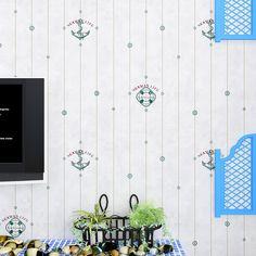kids wall paper roll Self-adhesive Kids wallpaper Pvc blue striped wallpaper for children living room 3D star wall paper D43423 #Affiliate