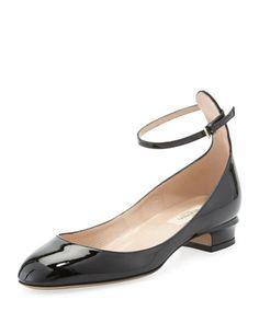 Valentino Patent Low-Heel Ballerina Pump, Black - Neiman Marcus