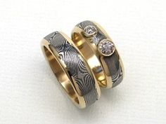 Stainless Damascus Rings in Heirloom Gold & Diamonds