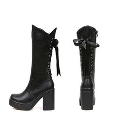 Womens Sexy Black Boots Laced Up Back On Sale Now ONLY at RockABillyGirlZ.com