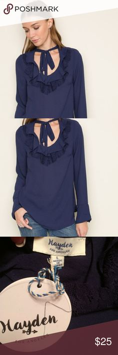 Navy Ruffled Blouse This is a great looking, soft blouse with ruffles and tie neck. It also has bell sleeves to add to the beauty of this top that is in this season. It is made of 100% polyester. I only have one large left in this, but they are made a little smaller. I think it would fit a medium size best. Please be sure to read the description because of this, since it does state large on the tag. If you have any questions, please let me know. Happy Poshing!! Hayden  Tops Blouses