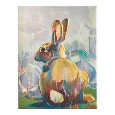 Looking a little shy, our hand-painted print of a bunny is still able to encourage smiles wherever it's hung. Featuring subtle pastels, this Pier 1 exclusive has a fir frame and will add charm to any nook or cranny in your home. Antique Show, Colorful Animals, Small Canvas, Unique Wall Art, Mini Paintings, Painting Frames, Canvas Wall Art, Art For Kids, Photo Art