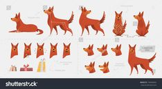 Set for creating a dog animation of emotions. Different body postures separately paws, snout, tail. Front view, side view. Elements for the animation of the character of the dog.