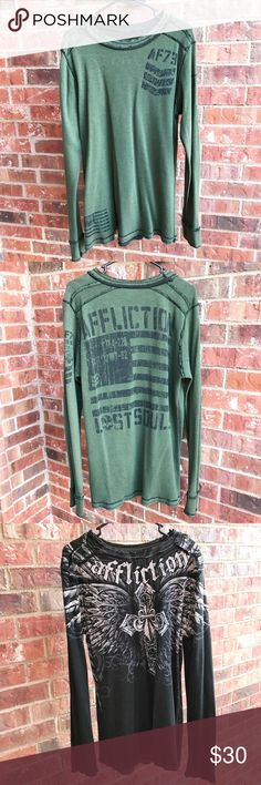 Men's Affliction Reversible Thermal Shirt Used. Good condition. Affliction Shirts Tees - Long Sleeve