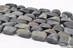 Mozaika kamienna otoczaki na siatce STRIPE BLACK, INDUSTONE