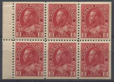 Pane of 6 2c admiral stamps from a booklet that originally sold for 25c and contained 2 such panes.