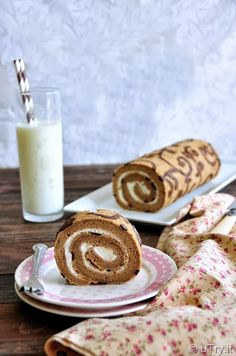 Decorated Coffee Swiss Roll with Step-by-Step Pictorial (彩繪咖啡瑞士卷)  @uTry.it