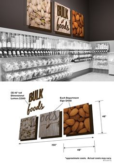 Vintage look bulk food sign Bulk Store, Grocery Store, How To Store Tomatoes, Produce Displays, Retail Signage, Food Signs, Wine Display, Bulk Food, Custom Wood Signs