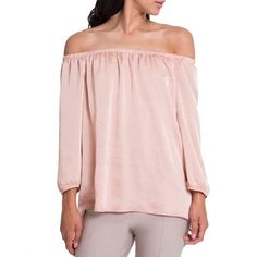 Kode Off The Shoulder Crushed Satin Top - Blush   Buy Online in South Africa   takealot.com Off Shoulder Blouse, Off The Shoulder, Satin Top, Crushes, Blush, South Africa, Stuff To Buy, Tops, Women