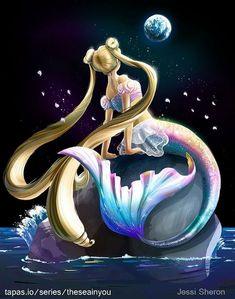 Sailor Moon/Princess Serenity as a mermaid, art mine! Sailor Moon Manga, Sailor Moons, Arte Sailor Moon, Sailor Moon Fan Art, Sailor Moon Crystal, Cristal Sailor Moon, Anime Mermaid, Mermaid Art, Princesa Serena