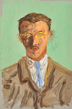 Hermann Hesse: Self Portrait Hermann Hesse: Selbstbildnis, um 1919 (?) Aquarell und Gouache und Grafit, 21,5 x 14,2 cm Privatbesitz © 2012, Hermann Hesse-Editionsarchiv, Volker Michels, Offenbach Fotonachweis: Kunstmuseum Bern