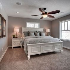 Our gray carpet and the dark gray (SW Dovetail) accent wall with ...
