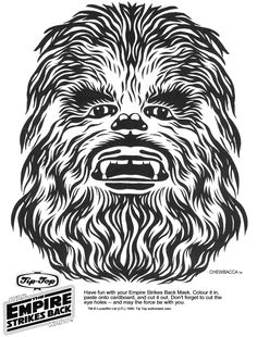 Star Wars Coloring Pages! Darth Vader, Yoda, Stormtrooper, Clone Trooper, Luke Skywalker and Chewbacca from the movie. Chewbacca, Theme Star Wars, Star Wars Party, Printable Masks, Printables, Darth Vader Mask, Star Tours, Star Wars Birthday, Birthday Cake