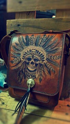 Leather bag with indian chief skull carving,made by Koi,Vietnam handmade leather