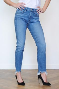 Our favorite new fit features a high rise and a slim straight leg. Cropped inseam with an uneven frayed hem.   9.5 oz. denim from Isko (Turkey) 98% cotton 2% PU Silver zipper and 3x1 button from YKK (USA) Navy stitching Straight Crop Jean by 3x1. Clothing - Bottoms - Jeans & Denim - Straight Clothing - Bottoms - Jeans & Denim - High-Waisted North Carolina