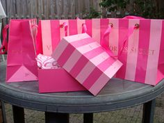Love Victoria's Secret & the Pink striped iconic shopping bags