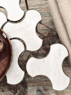 Link bunching table – Greige Design -- if we did a simple rug, these would be awesome as a coffee table #furniture