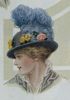 Ostrich Feather Hat ~ The Ladies Home Journal, October 1914 Vintage Pictures, Vintage Images, Vintage Art, Vintage Ladies, Vintage Postcards, Edwardian Dress, Edwardian Fashion, Vintage Fashion, Feather Hat