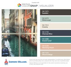 I found these colors with ColorSnap® Visualizer for iPhone by Sherwin-Williams: Sealskin (SW 7675), Waterscape (SW 6470), Creamy (SW 7012), Charcoal Blue (SW 2739), Grand Canal (SW 6488), Warming Peach (SW 6338), Dhurrie Beige (SW 7524).