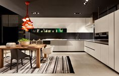 White, Black and Wood LACQUERED WOODEN KITCHEN ALEA BY VARENNA BY POLIFORM | DESIGN PAOLO PIVA