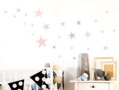 WAS-10106-Kinderzimmer-Wandsticker-Set-034-Sterne-mit-Muster-fuer-Maedchen-034