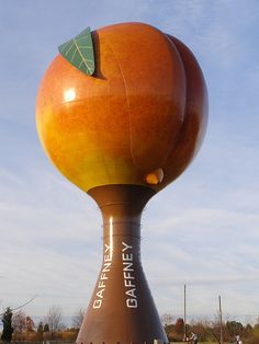 The giant peach in Gaffney, South Carolina which has recently been made famous by the Netflix hit show, House of Cards.