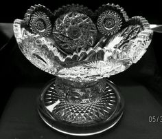 ANTIQUE EAPG RARE WESTMORELAND GLASS BUZZ STAR/PADDLE WHEEL PUNCH BOWL STAND