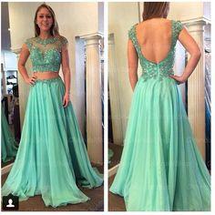 2 piece prom dresses, green lace prom dress, unique prom dresses, sexy prom dresses, 2015 prom dresses, popular prom dresses, dresses for prom, CM407