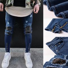 Mens Ripped Slim Fit Motorcycle Vintage Denim Jeans Hiphop Streetwear Pants Material: Cotton + Denim Pattern Type: Solid Fit: Fits true to size Thickness: Standard How to wash: Hand wash Cold, Hang or Line Dry Size Chart(Unit:cm/inch) Hip Ripped Jeans Men, Jeans Denim, Skinny Jeans, Streetwear, Sport Pants, Men's Pants, Cargo Pants, Vintage Denim, Men's Vintage