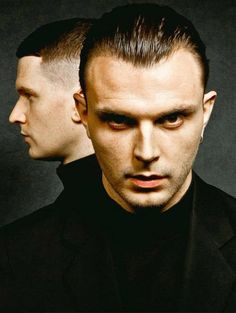 "Theo Hutchcraft and Adam Anderson of Hurts - image from NME Magazine's Feb 2013 issue / ""tattoo your dagger eyes upon me"""