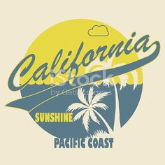 California apparel t-shirt fashion design, Palm trees on the Beach. Typographic art Silhouette. Creative design. Vector template concept