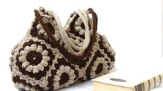 Crochet handbag in chocolate brown and beige flowers, crochet bag, shoulder bag, purse