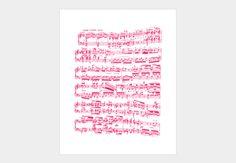 Bright pink sheet music (Beethoven piano sonata No.7) Art Print - Design By Humans