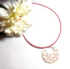 Porcelain Pendant Beaded Necklace with Red White and Gold Dot Design