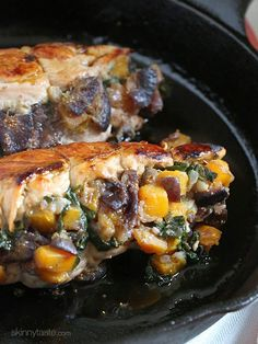 Stuffed Turkey Breasts with Butternut Squash and Figs. (You can substitute apples or pears if you don't have figs). Skinneytaste