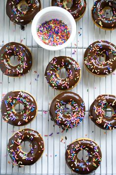 chocolate donuts with sprinkles