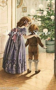 Vintage Christmas Fabric Block Vintage Postcard Victorian Parlor | eBay