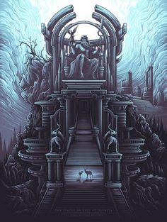The Statue of Zeus at Olympia [The Seven Ancient Wonders] by Dan Mumford Call Of Cthulhu, Illustrations, Illustration Art, Dan Mumford, Science Fiction, Wonder Art, Classic Paintings, Geek Art, Renaissance Art